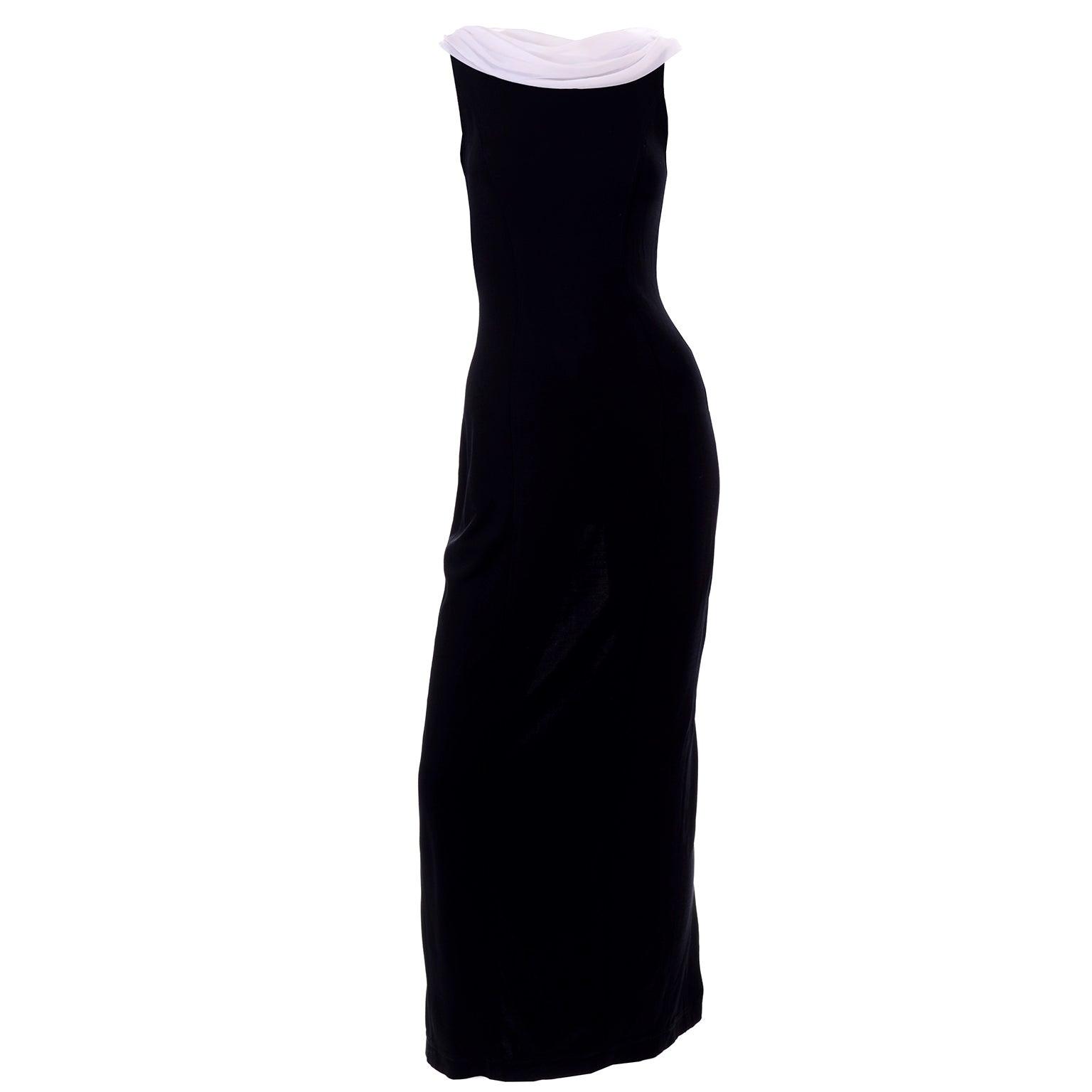 Vintage Tadashi Black Evening Gown Dress W/ Open Low Back And White Drape Train