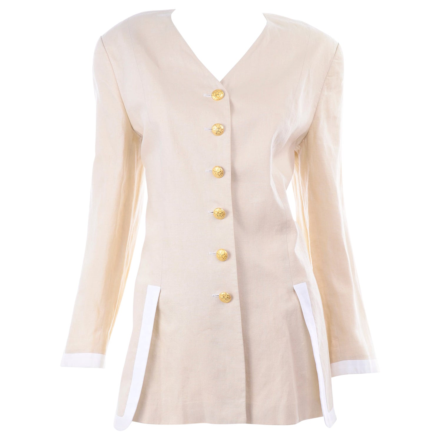Margaretha Ley Vintage Escada Linen Blazer Jacket with White Trim & Gold Buttons