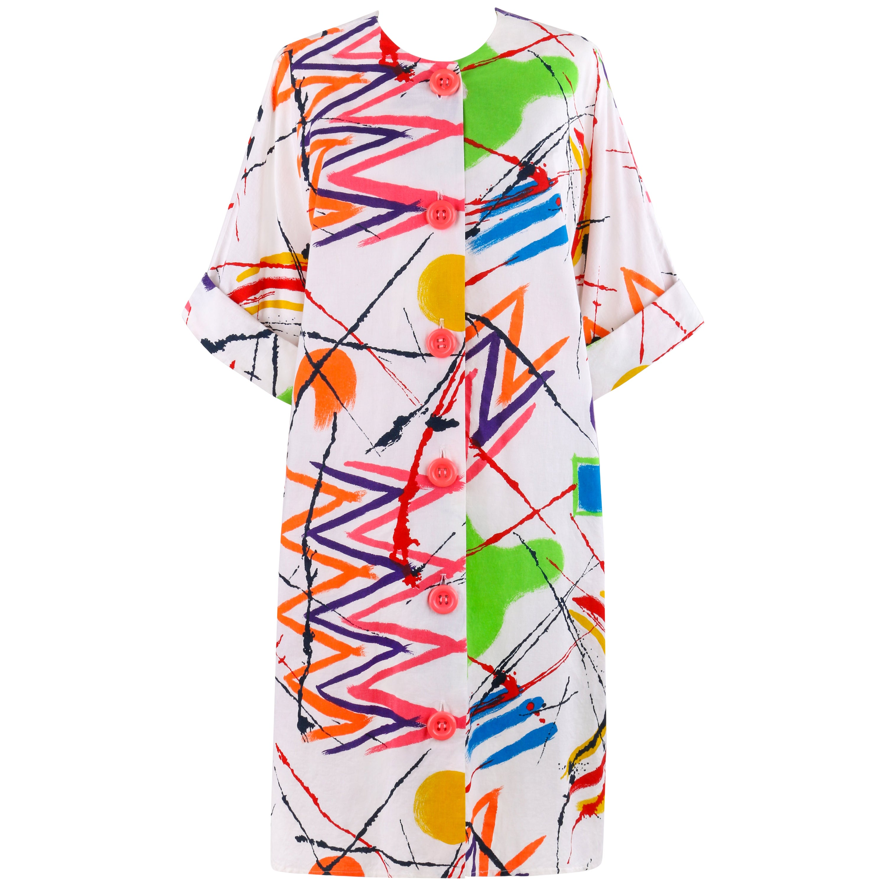 PIERRE CARDIN c.1980's Multi-color Abstract Painterly Tunic Smock Dress