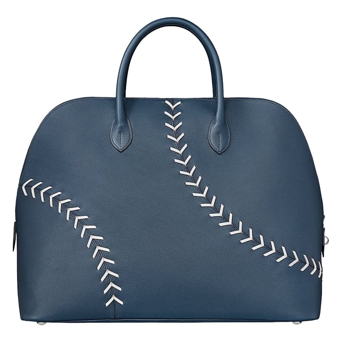 Hermes NEW Blue White Leather Stitch Top Handle Satchel Carryall Travel Tote Bag