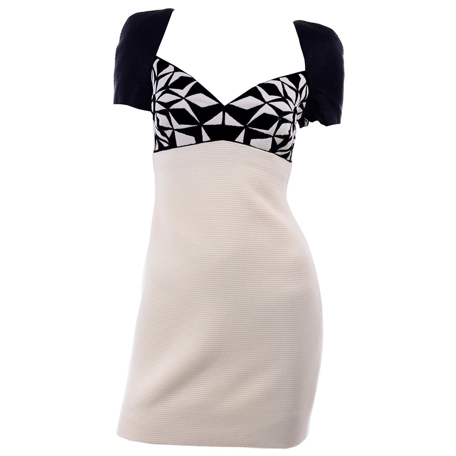 Fall 1991 Atelier Versace Gianni Vintage Black & Cream & White Dress
