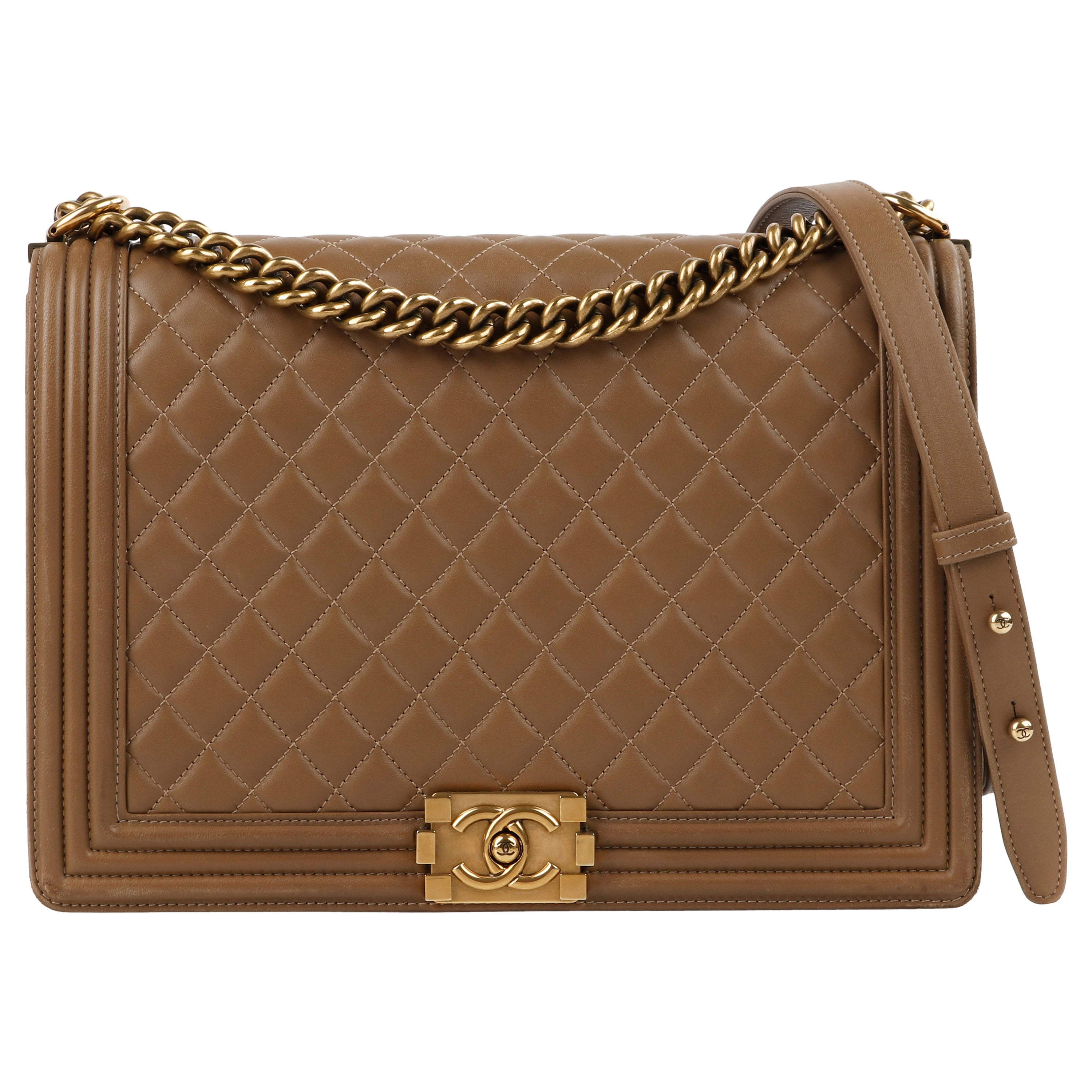 """CHANEL c.2014 """"Boy"""" Tan Quilted Leather Gold Hardware Cross-body Shoulder Bag"""