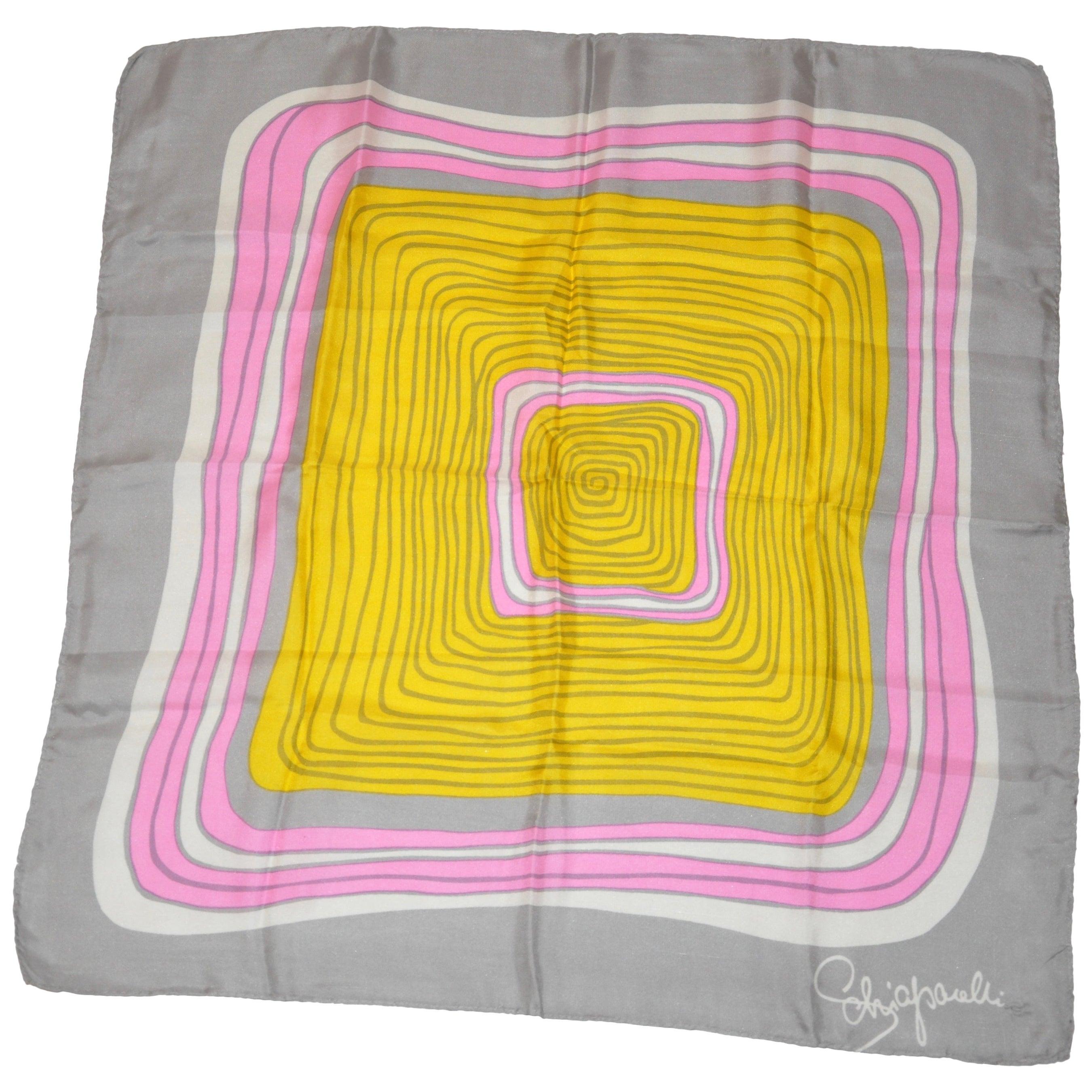 "Schiaparelli ""Iconic Whimsical Swirls"" Silk Scarf"