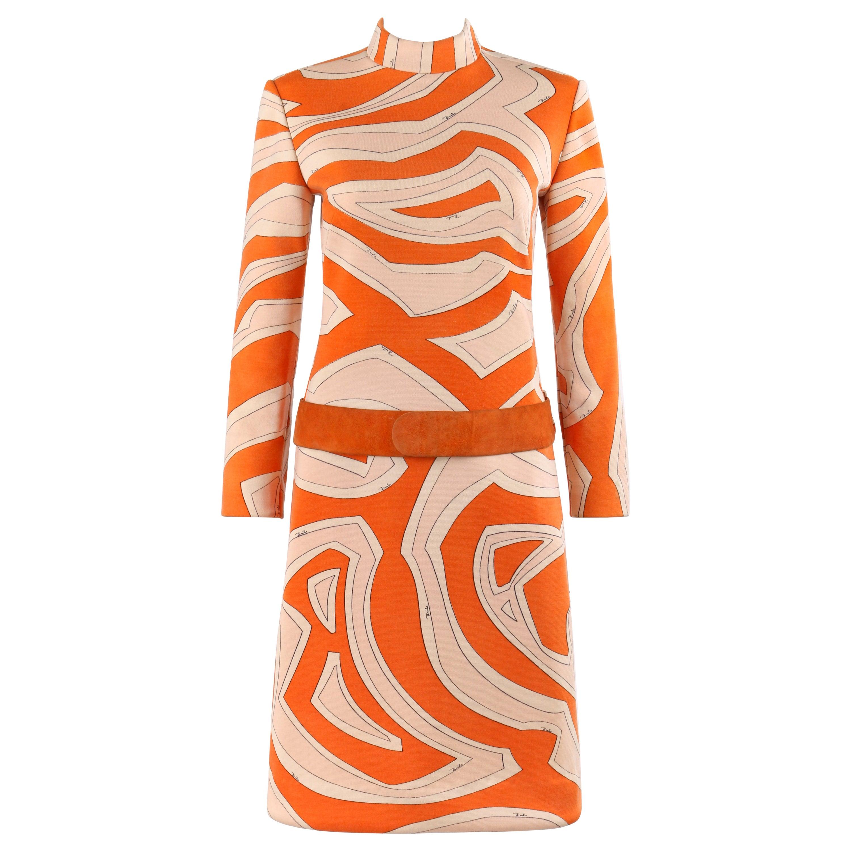 EMILIO PUCCI c.1960's Orange Tan Geometric Signature Print Drop Waist Dress Belt