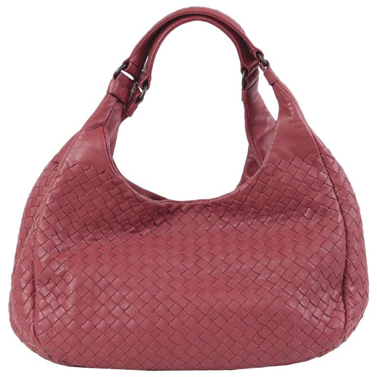 BOTTEGA VENETA dusty rose pink INTRECCIATO CAMPANA MEDIUM Hobo Shoulder Bag