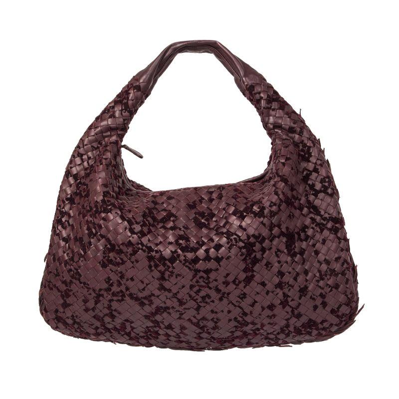 BOTTEGA VENETA burgundy INTRECCIATO VLOURS VENETA LARGE Hobo Shoulder Bag