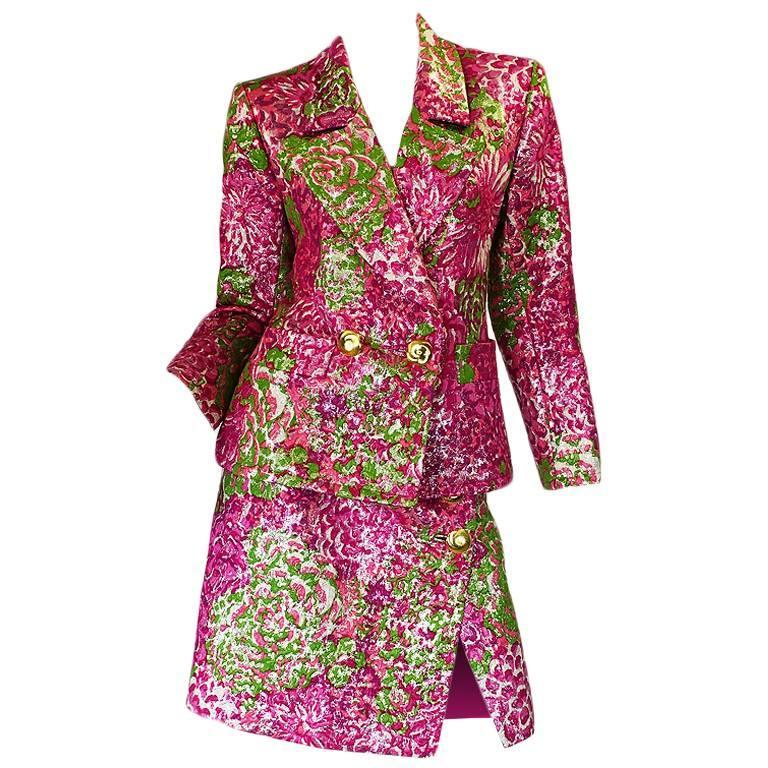 F/W 1989 Yves Saint Laurent Pink Silk Brocade Suit