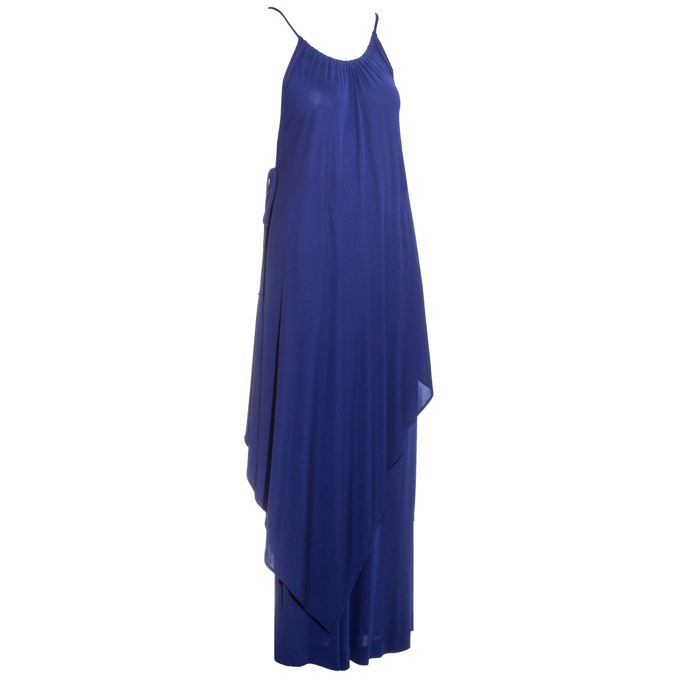Yves Saint Laurent blue viscose jersey tunic and skirt ensemble, c. 1970s