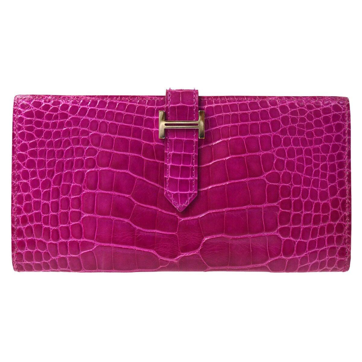 Hermes Magenta Alligator 'H' Logo Palladium Evening Clutch Wallet Bag in Box
