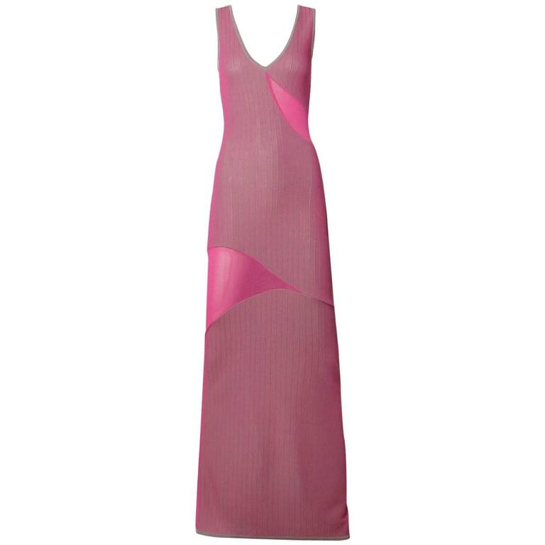 Herve Leger 1990s 90s Pink + Gray Knit Cut Out Sheer Mesh Bandage Maxi Dress
