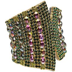 Handmade By Iris G Runway Emerald And Watermelon Crystal Clamp Cuff Bracelet