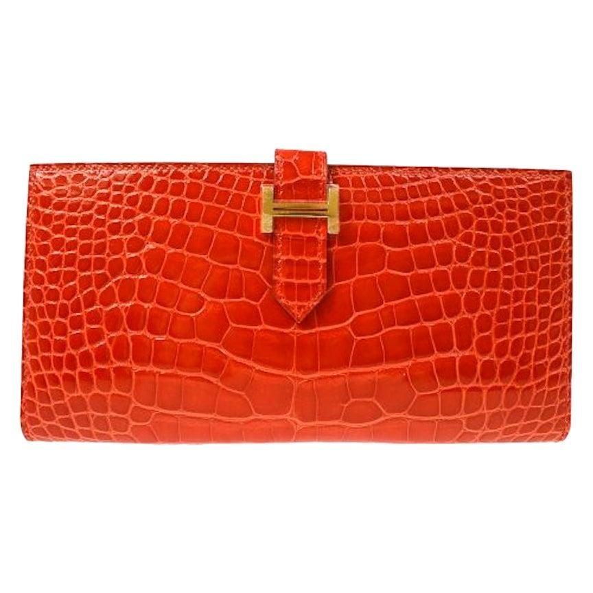 Hermes Alligator Exotic Leather 'H' Logo Gold Evening Clutch Wallet Bag in Box