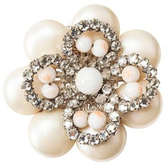 Miriam Haskell Diamante Floriform Brooch