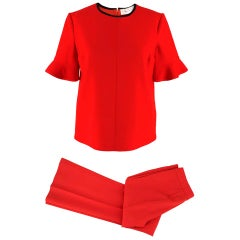 Victoria Victoria Beckham Red Wool Top & Trousers Suit SIZE UK 8