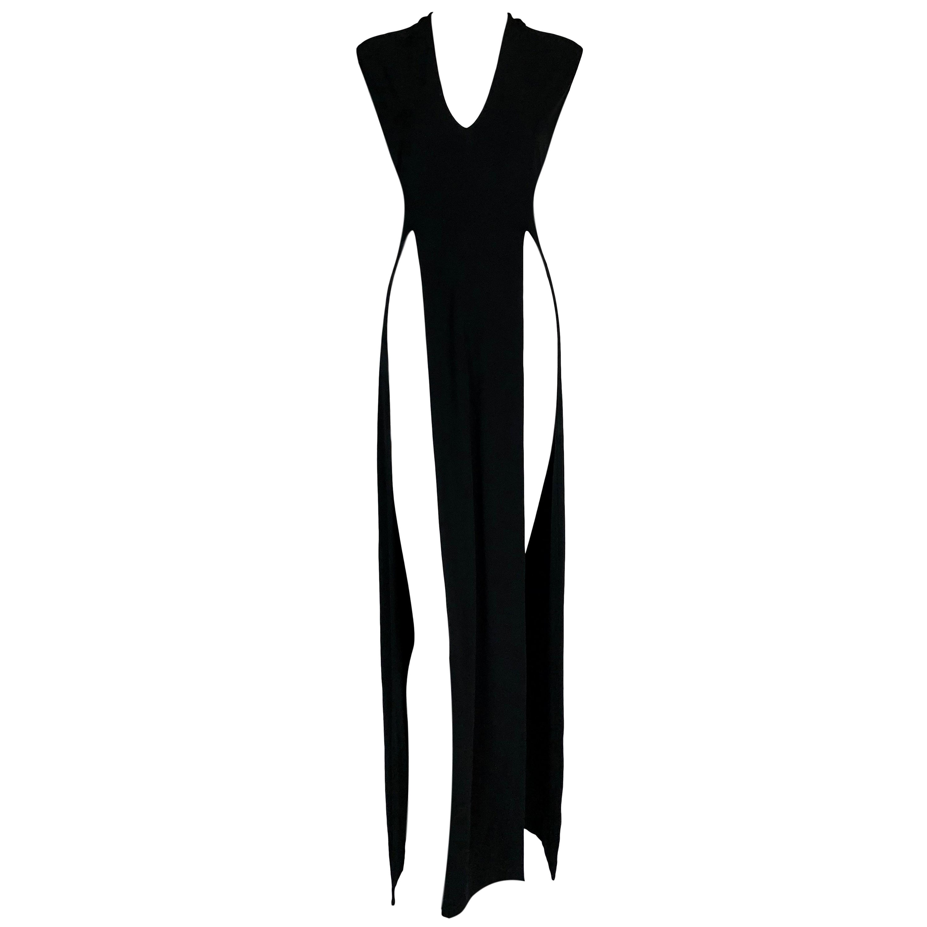 2000's Maison Martin Margiela Black Super High Slits Black Gown Dress
