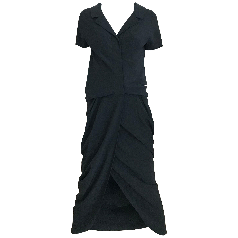 1960s Galanos Black Matte Jersey Cocktail Dress