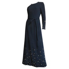 Givenchy Nouvelle Boutique 1970s Maxi Dress and Wrap with Studs