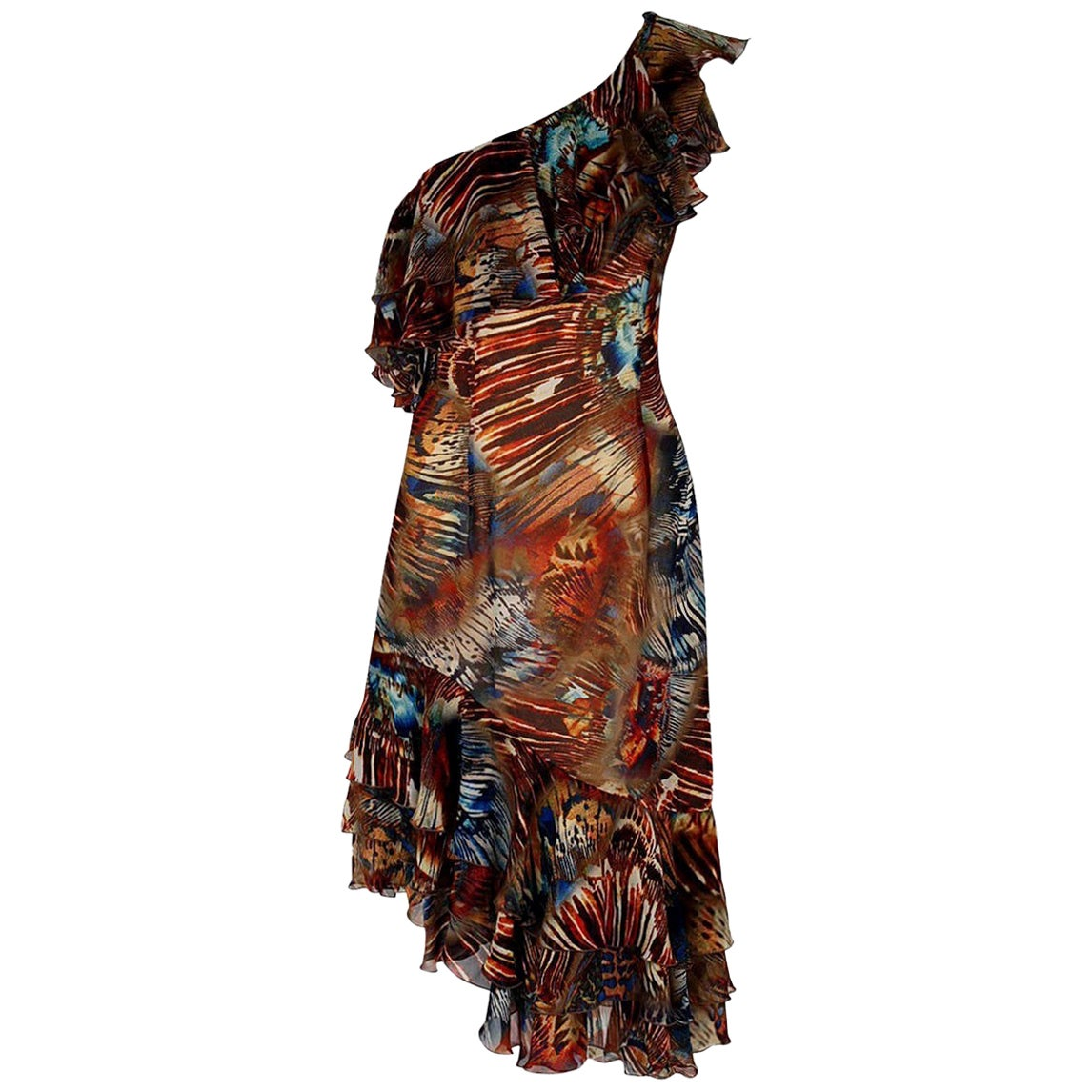 Vintage 1994 Thierry Mugler Couture Abstract Feather Print Silk Asymmetric Dress
