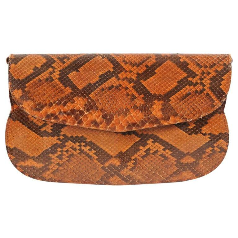 Charles Jourdan Copper Snakeskin Clutch or Shoulder Bag