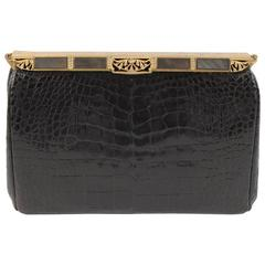 Black Alligator Clutch, Black Mother of Pearl and Marcasite Frame