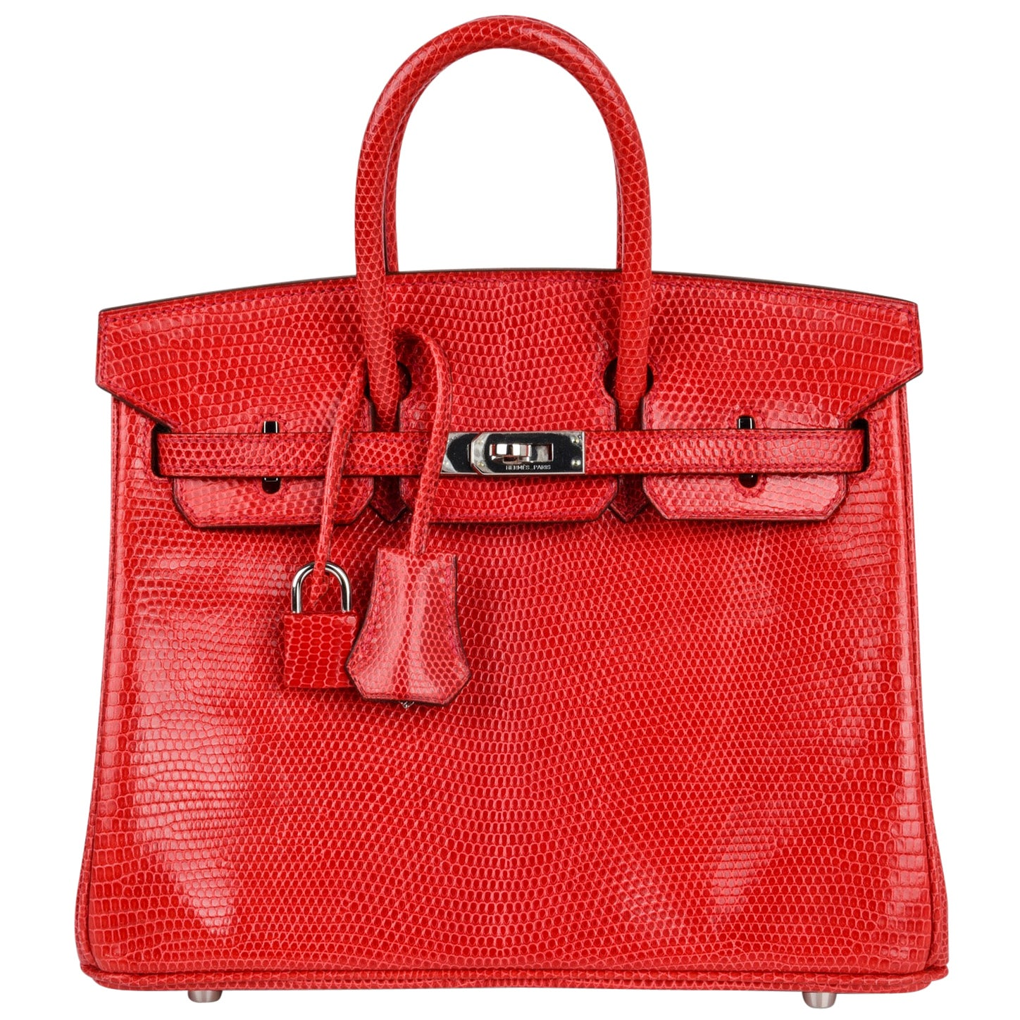 Hermes Birkin 25 Bag Rouge Exotic Lizard Palladium Hardware