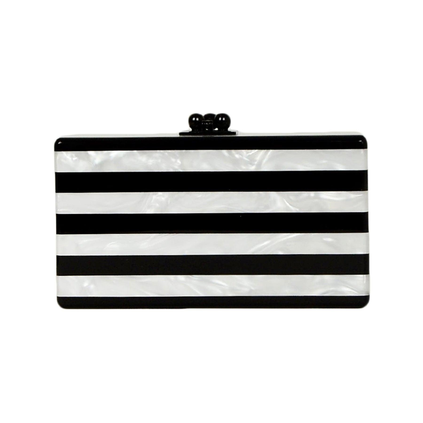Edie Parker Black/White Stripe Acrylic Marble Minaudiere Clutch Bag