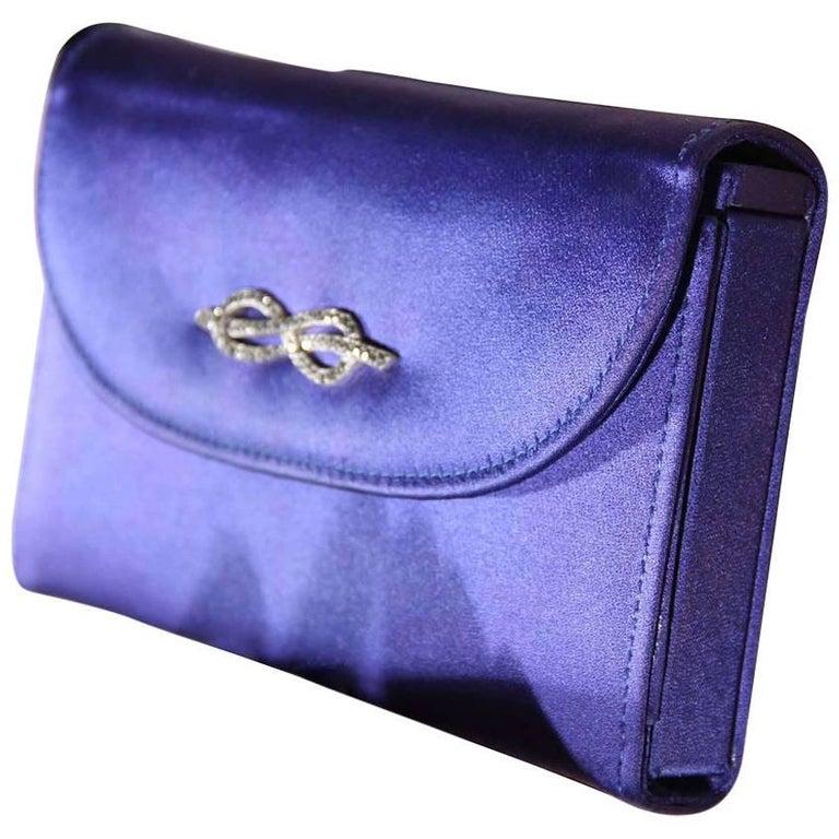 GUCCI Italian VINTAGE Blue Satin MINAUDIERE Evening Bag HANDBAG Purse RARE
