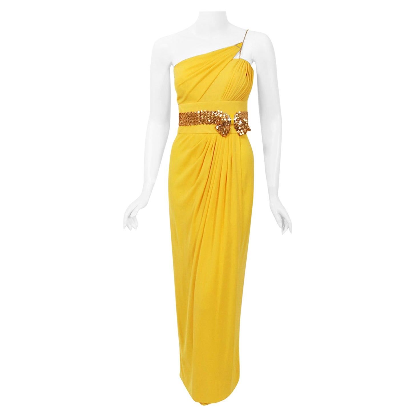 Vintage 1970's Jacques Cassia Couture Yellow Jersey One-Shoulder Draped Dress