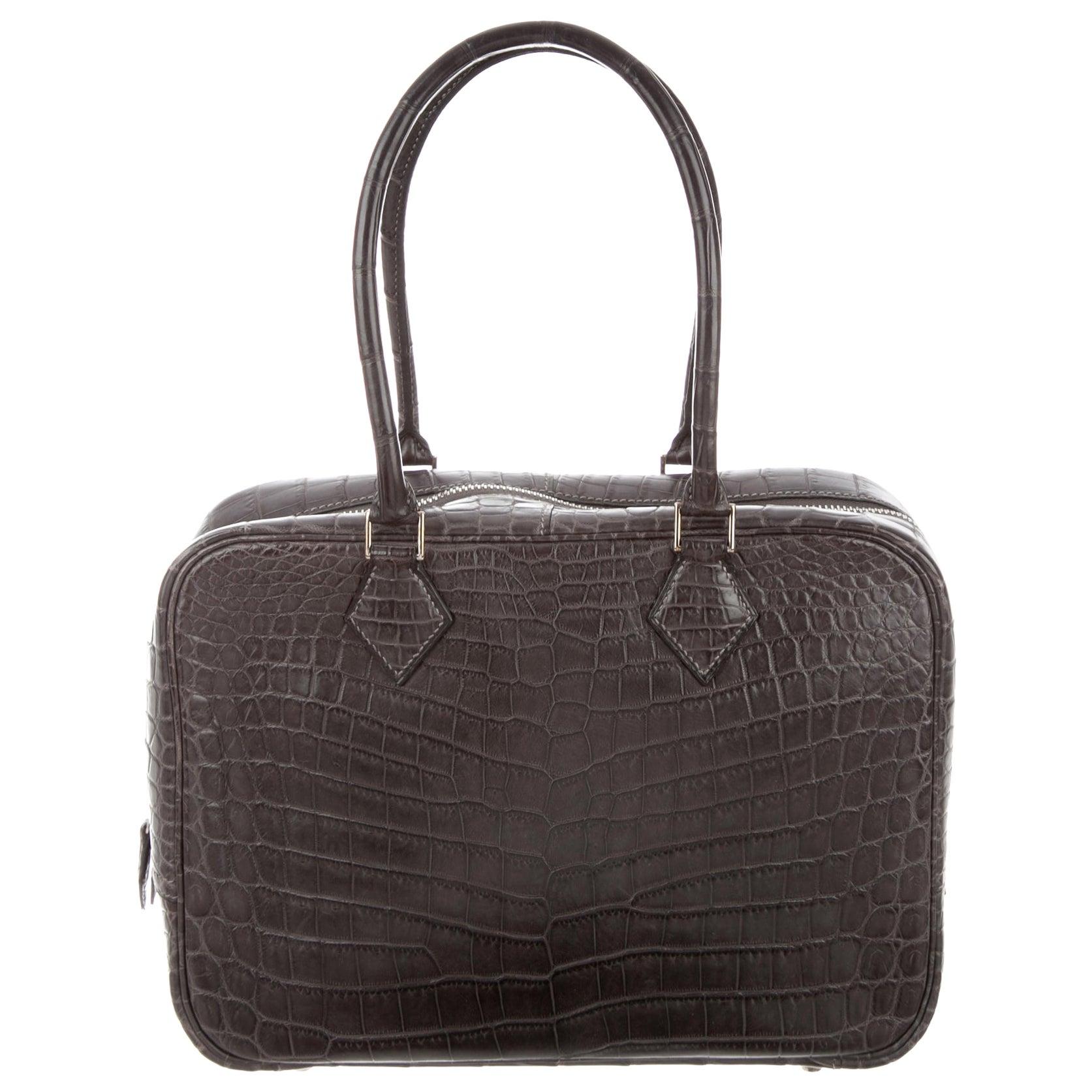 Hermes Crocodile Exotic Leather Palladium Zip Top Handle Satchel Evening Bag