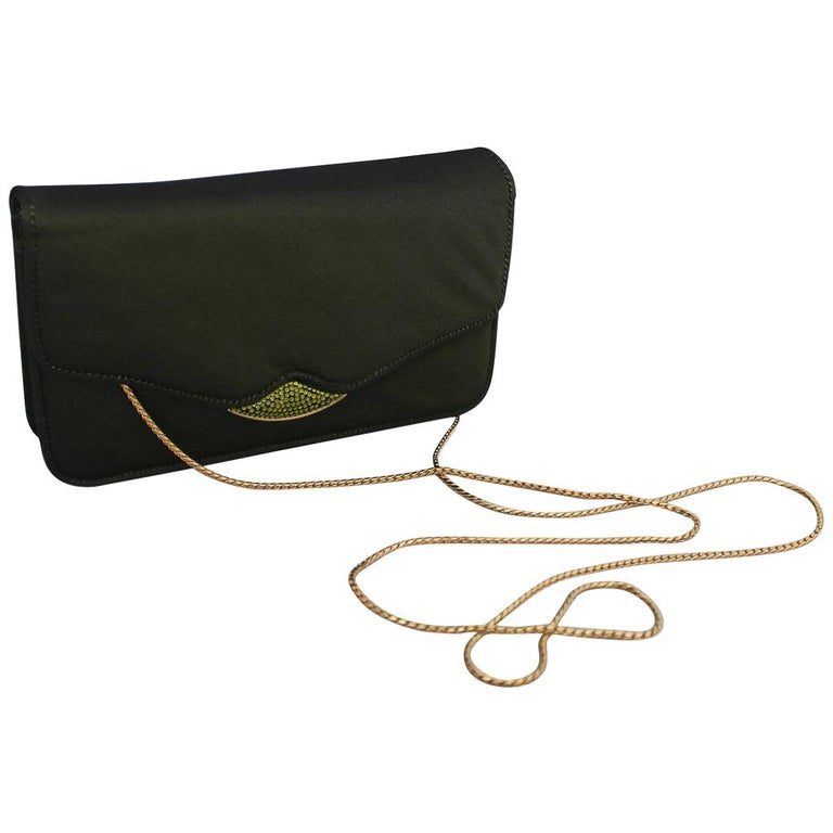 Judith Leiber Olive Satin Evening Bag & Clutch with Rhinestones For Sale