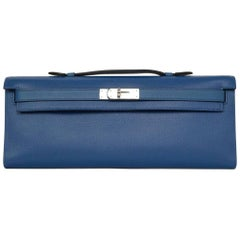 Hermes 2014 Bleu de Galice Grain d'H Leather Kelly Cut Clutch Bag