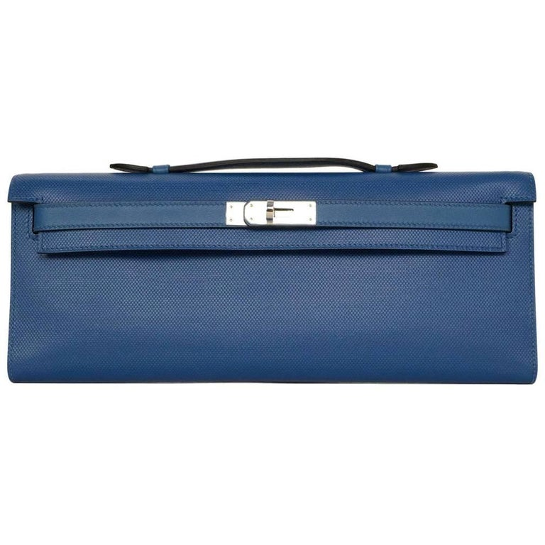 Hermes 2014 Bleu de Galice Grain d'H Leather Kelly Cut Clutch Bag