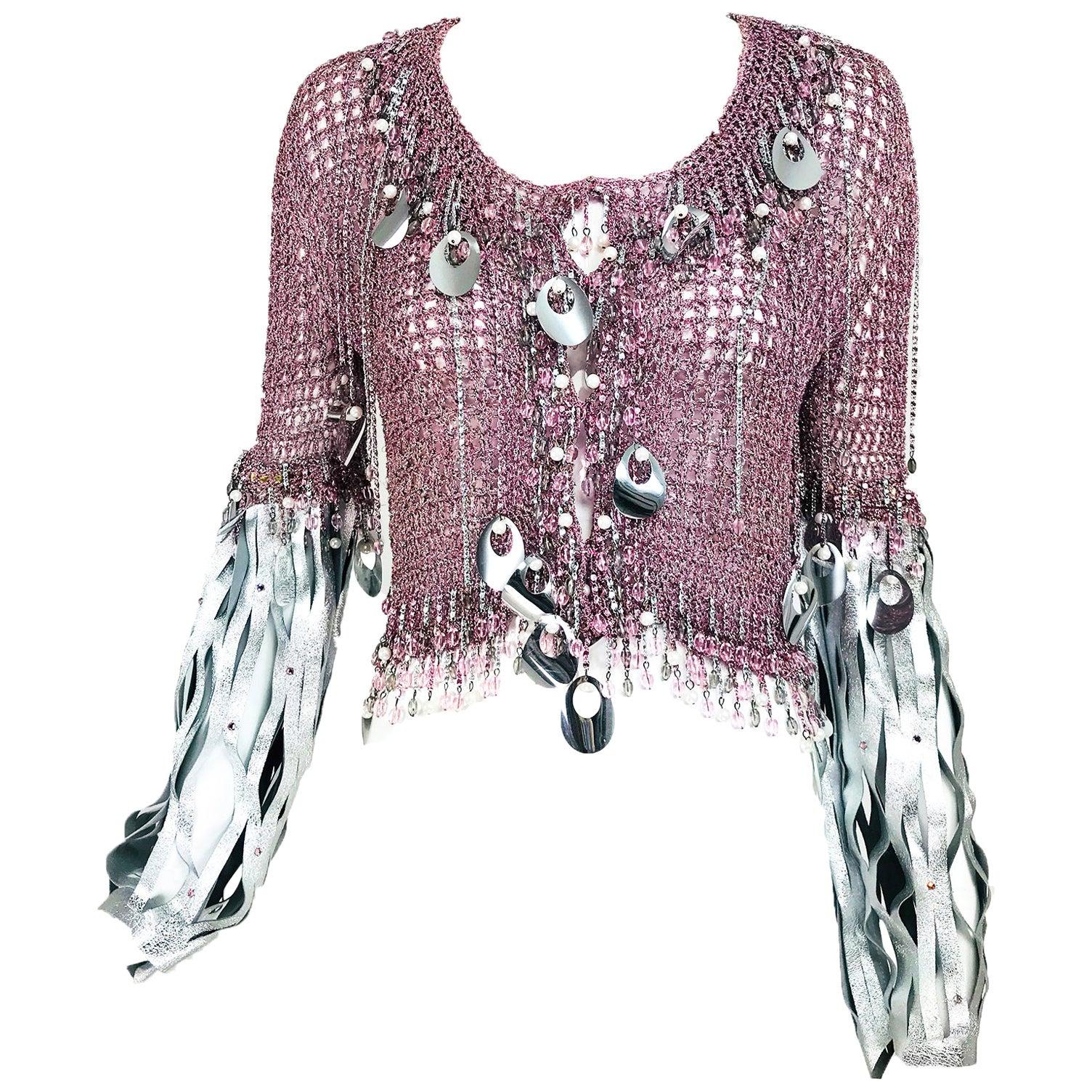 Vintage Loris Azzaro Metallic Pink and Silver Leather Sweater 1980s