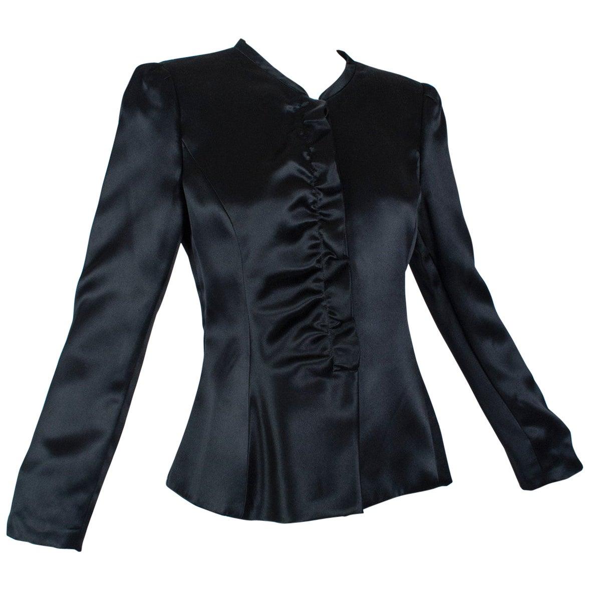 Giorgio Armani Black Satin Ruffle Placket Evening Jacket - US 6, 2003
