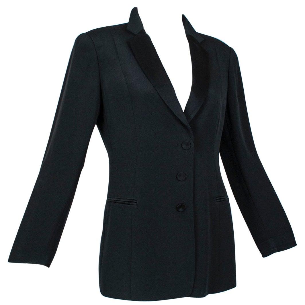 "Giorgio Armani Black Silk Faille ""Le Smoking"" Tuxedo Jacket - US 6, 2001"