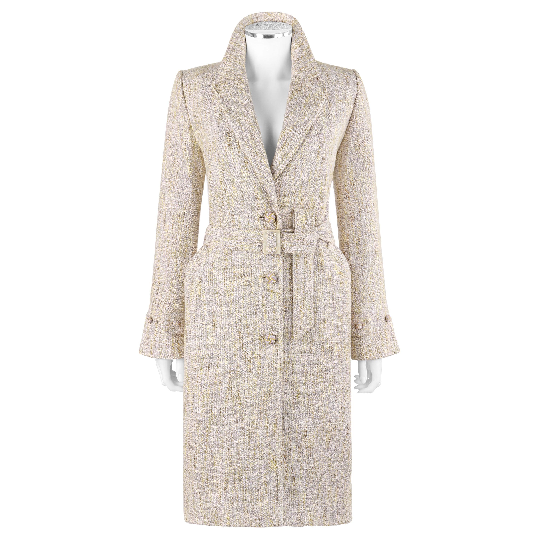 BILL BLASS c.1990's Purple Yellow Wool Tweed Long Belted Overcoat