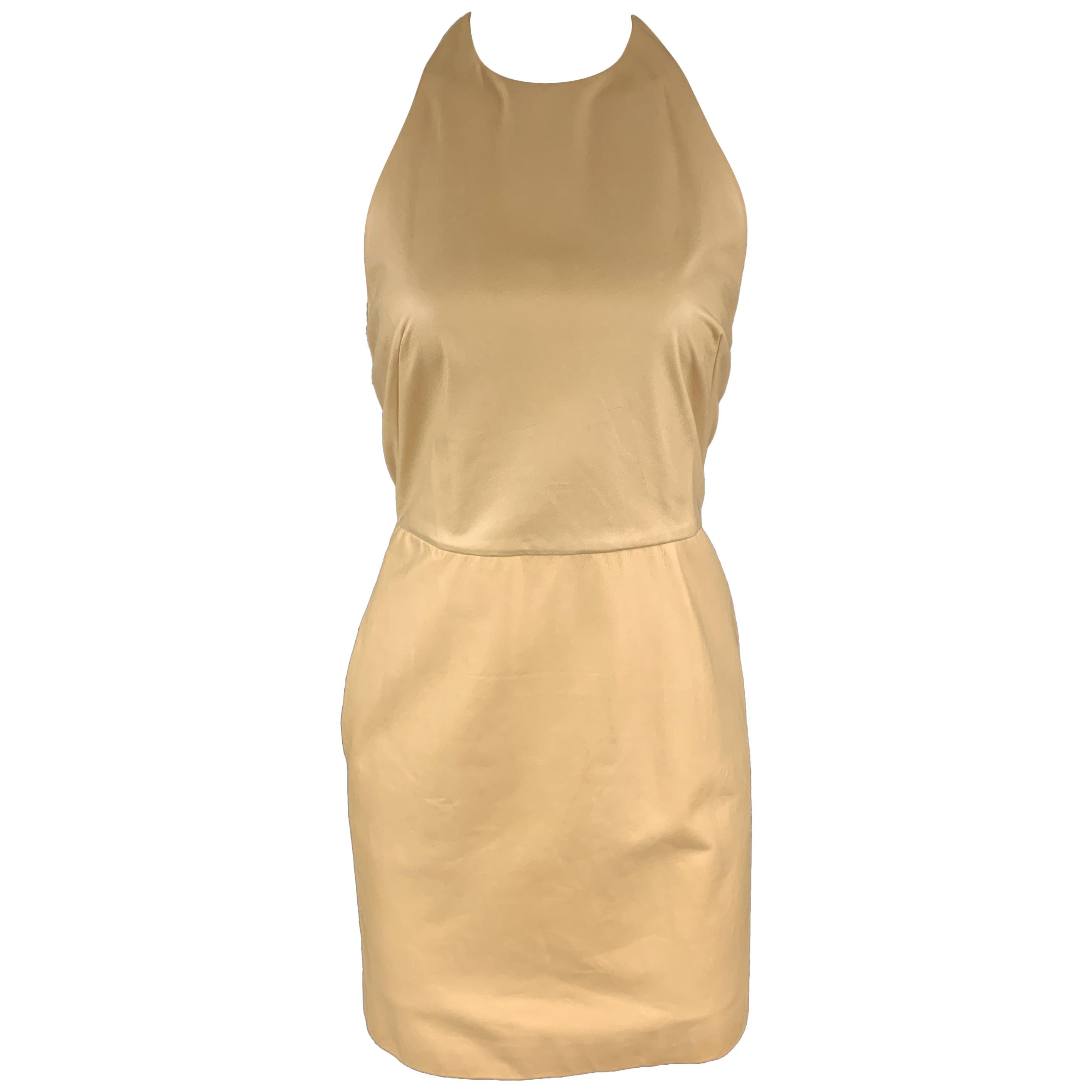 3.1 PHILLIP LIM Size 4 Camel Beige Leather Halter Dress