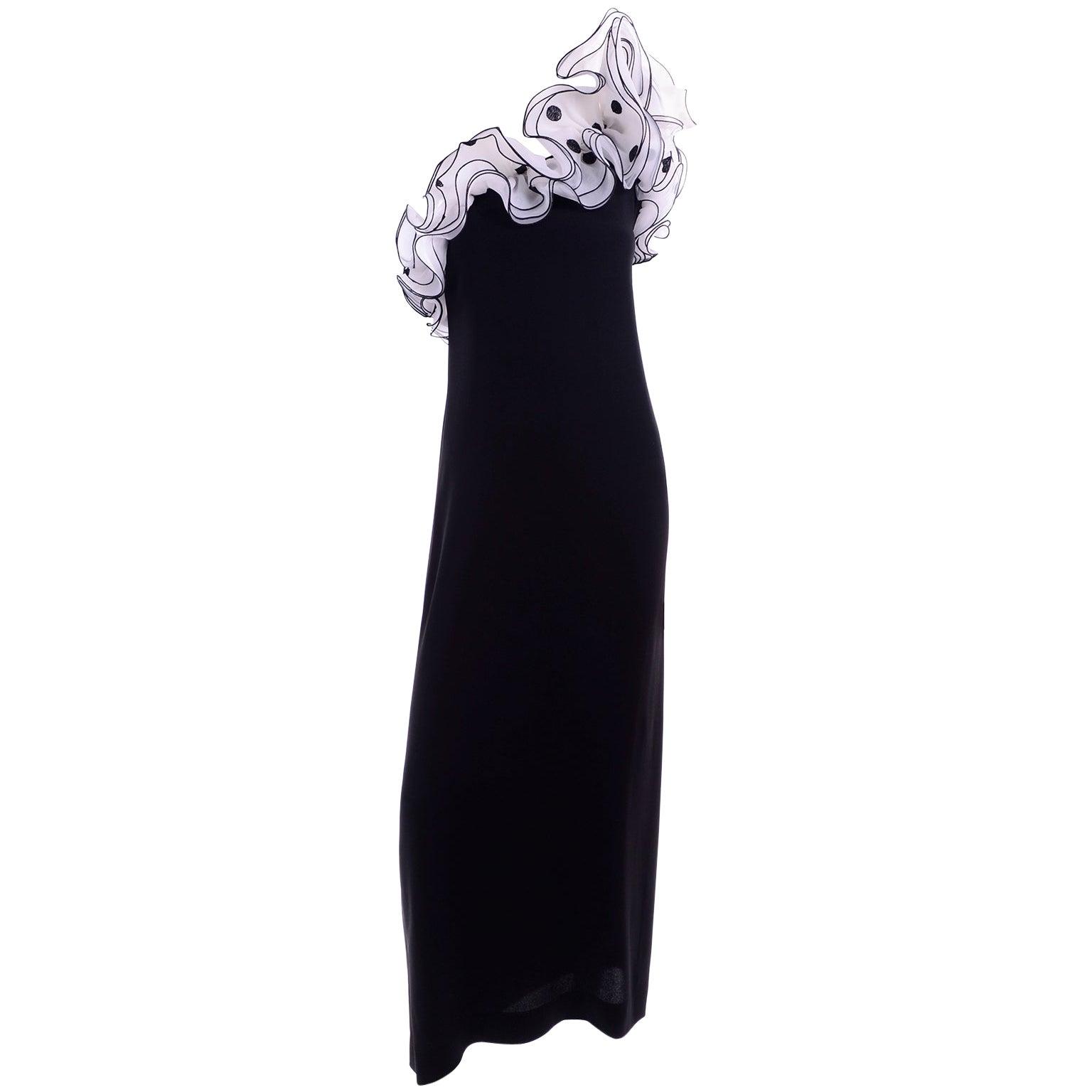 1970s Victor Costa Vintage Long Black Evening Dress W/ Polka Dot Organza Ruffles