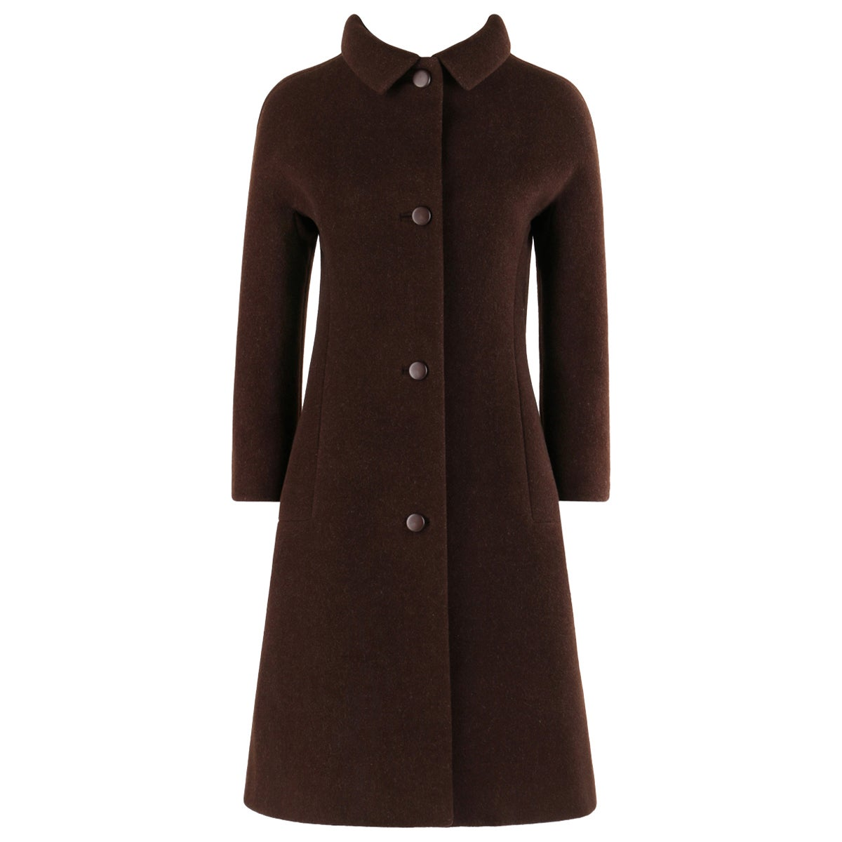 GIVENCHY c. 1960's Early Haute Couture Dark Brown Wool Princess Coat Jacket