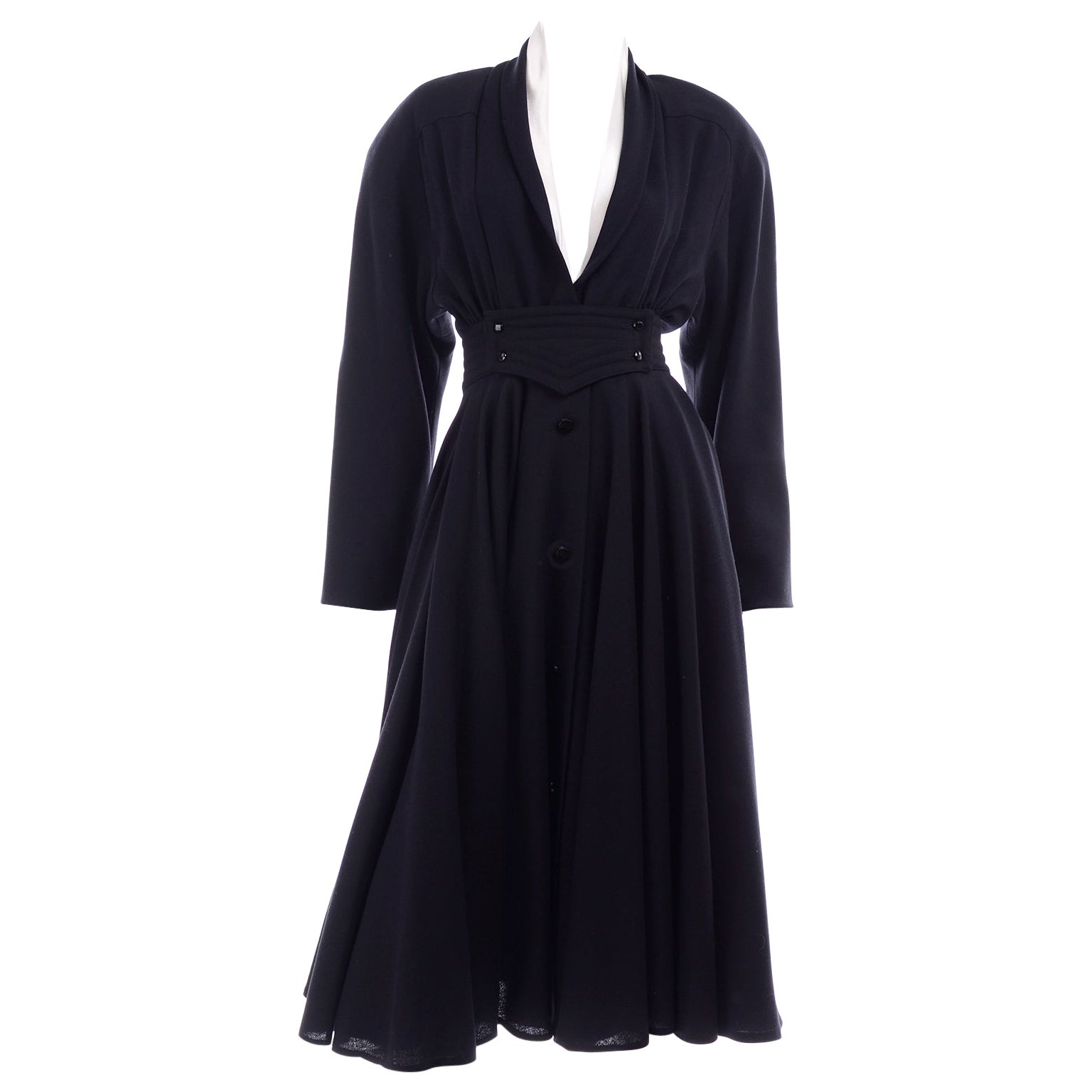 Deadstock Wayne Clark Couture Vintage Wool 1980s Dress New With Original Tags