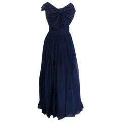 CHRISTIAN DIOR New York Circa 1950 Navy Blue Chiffon Gown