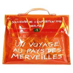 Hermes Orange PVC Vinyl Souvenir De L'Exposition Kelly Bag
