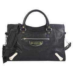Balenciaga City Metal Plate Flat Studs Bag Leather Medium