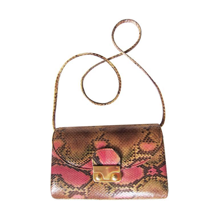 Pink Python Shoulder Leather Purse 1970's
