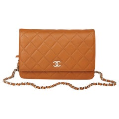 2011 Chanel Honey Beige Quilted Caviar Leather Wallet-on-Chain WOC