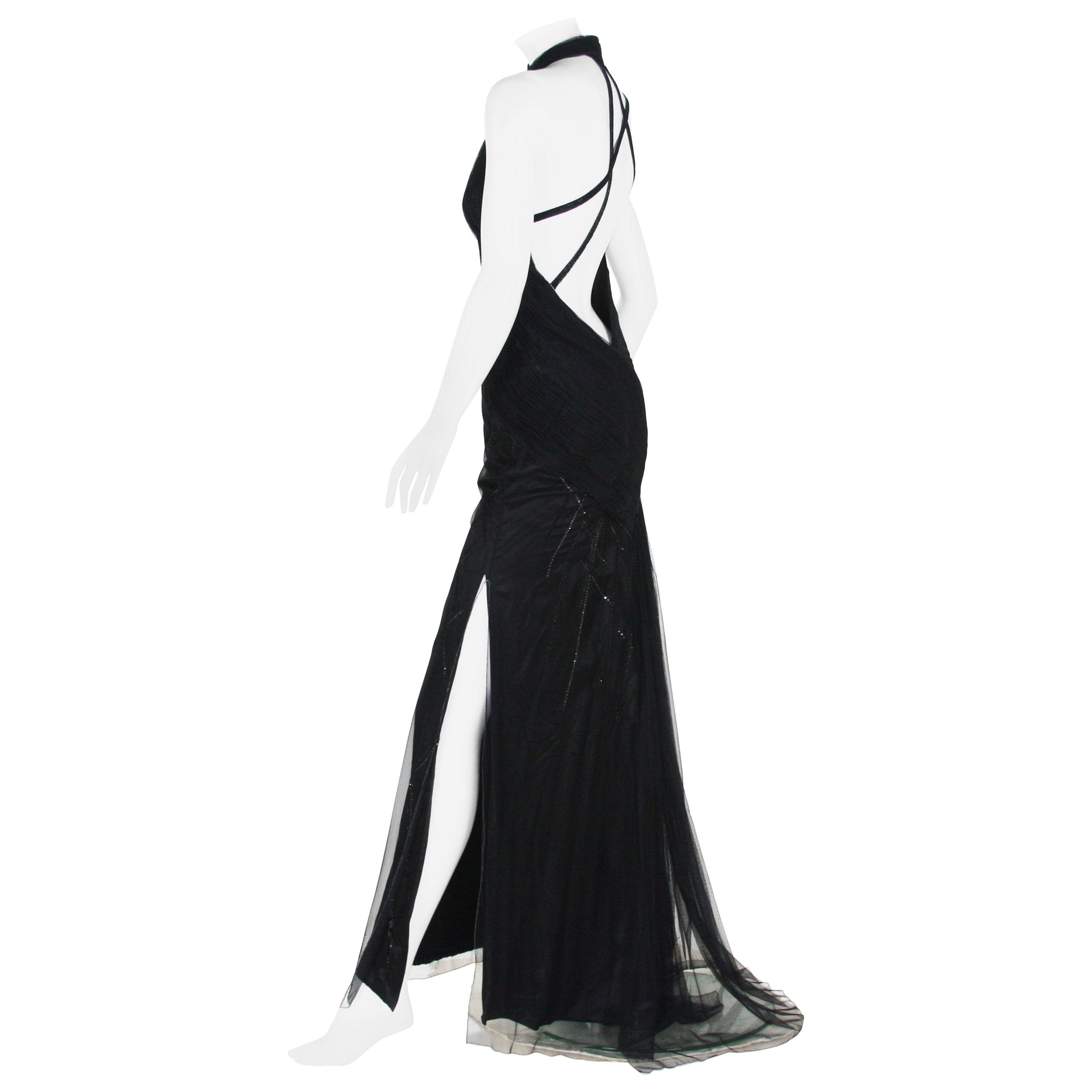 Versace Atelier 90's Black Silk Embellished Tulle Open Back Dress Gown