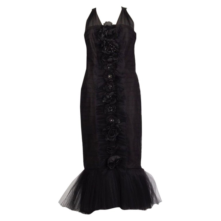 CHANEL black tulle Embellished Ruffle Cocktail Dress 36 XS