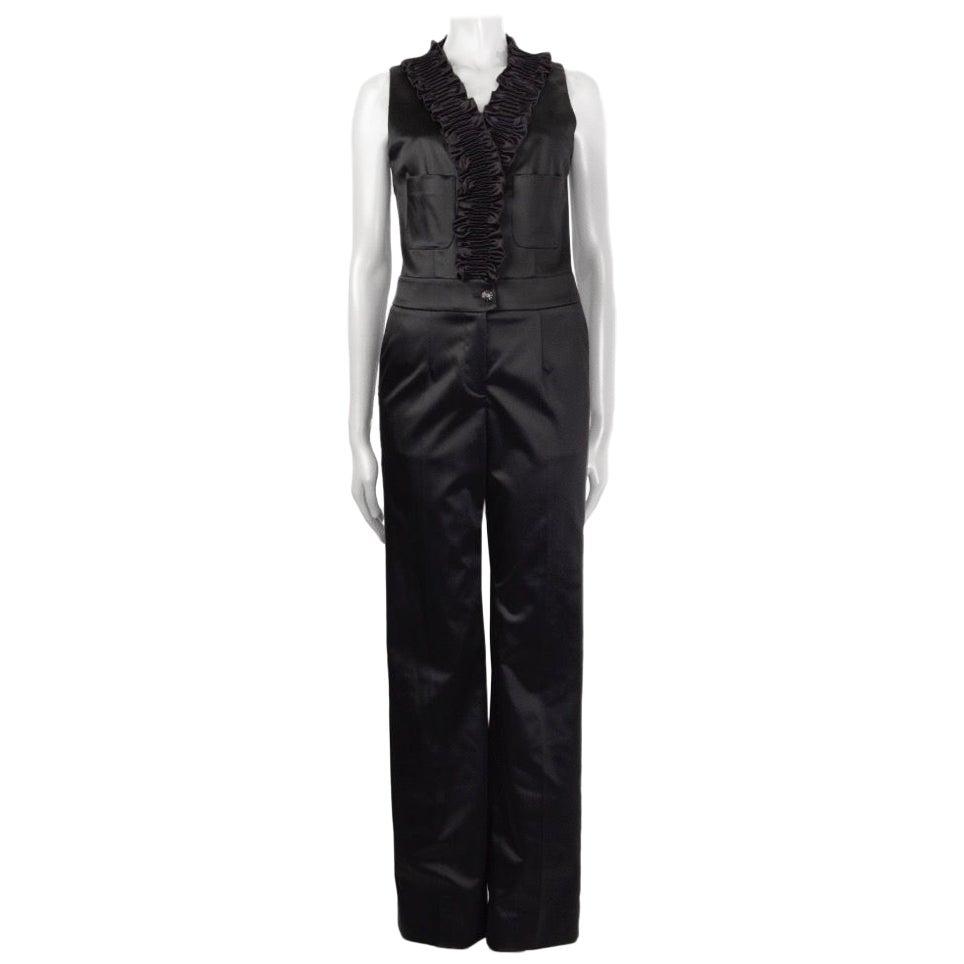 CHANEL black satin Smocked Ruffle Jumpsuit 36 XS