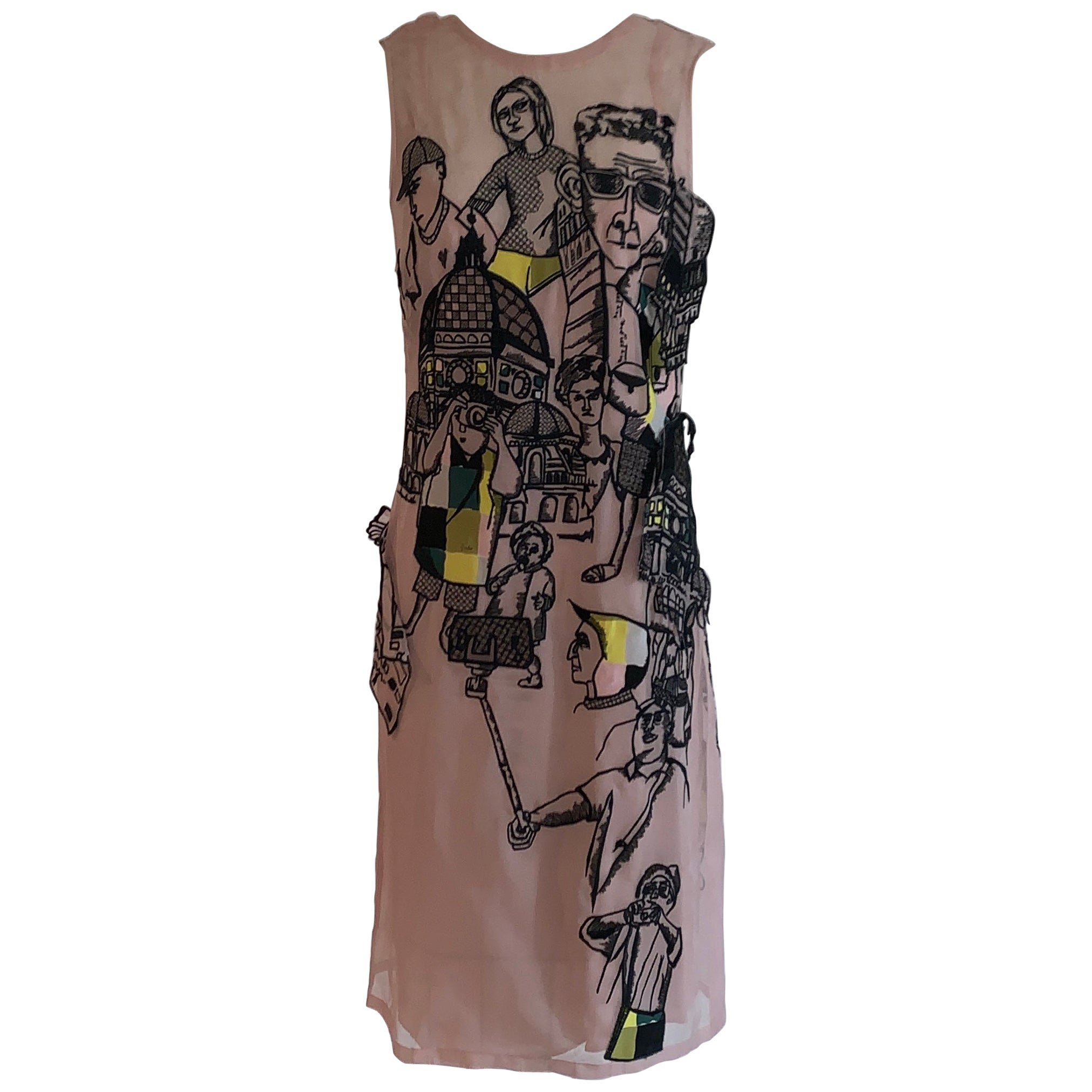 Emilio Pucci Blush Pink Embroidered Tourist PrintShift  Dress with Applique