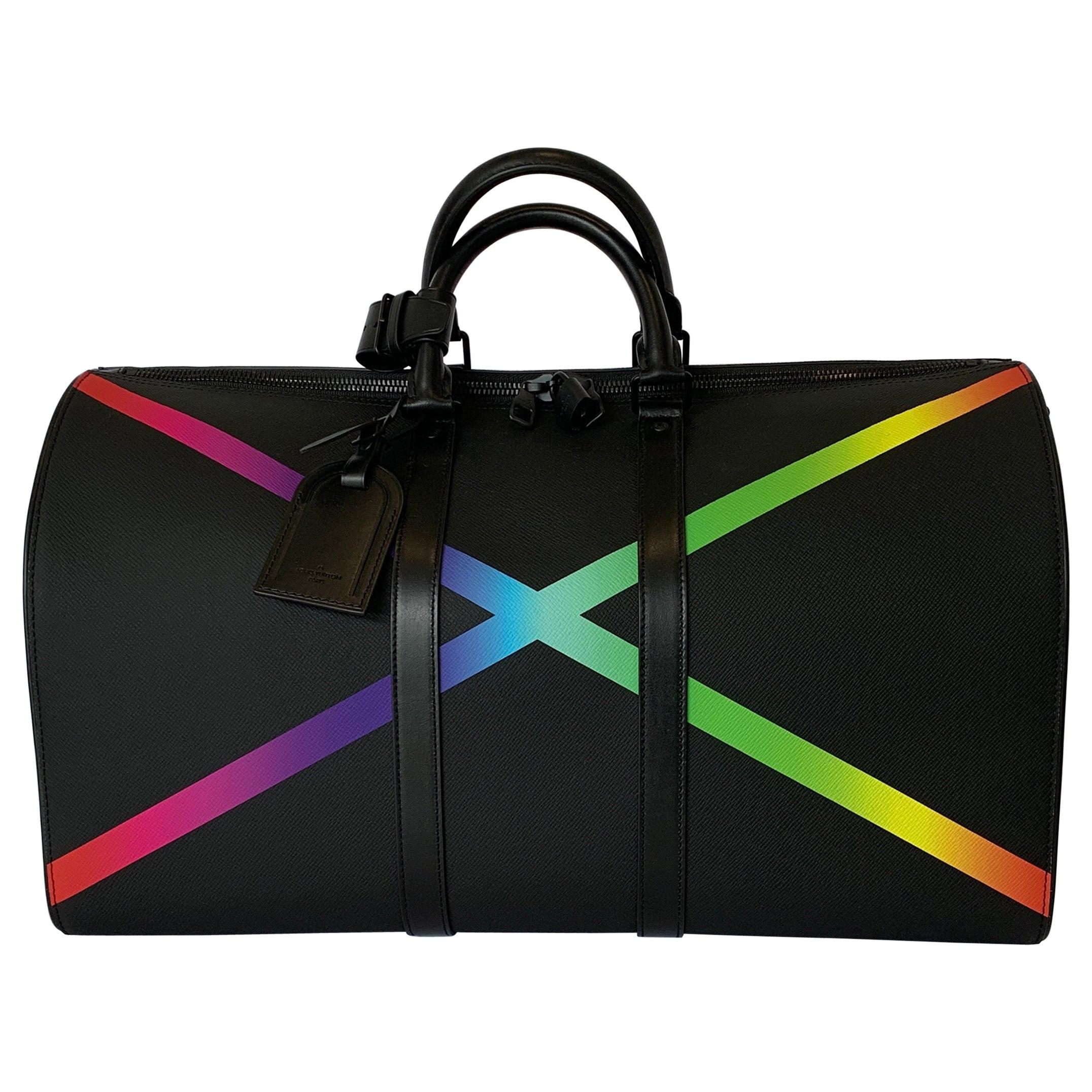 Louis Vuitton Black KEEPALL BANDOULIÈRE 50 Taiga Rainbow